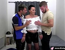 2 guy fuck very hard a french mature for a 1st scene