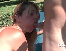 Squirt french mature hard anal fucked in 3way outdoor