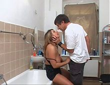 Slutty german mature anal in the bathroom