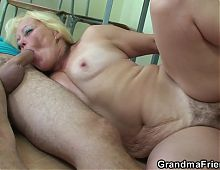 Two boys screw old granny teacher on the floor