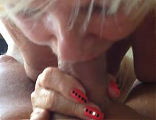 Sexy granny working the cock