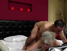 Young boy and old hairy granny fucking