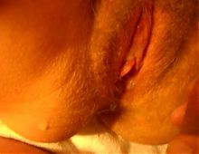 rubbing wife's clit and cumming on hairy pussy