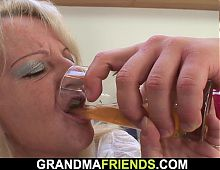 Very old hairy blonde granny swallows two cocks