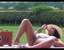 Classy Busty Lady Play Outdoor