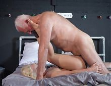 Silver Grampa has fun with younger babe grandpa granddad