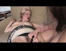 Blonde hairy mature and busty babe licking and toying