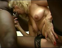 Chubby black guy fits his cock in a nice blonde pussy