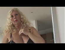 Mature curvy blonde Enlish lady with massive boobs