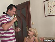 His blonde gf involved into 3some and rides old dick