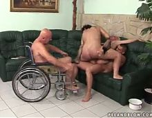 Rough pissing gangbang with a great old fart