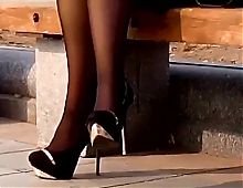 Candid lady in heels in the park