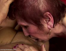 Taboo lesbian sex with old granny