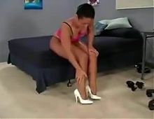 Black goddess in nylons wont allow white pindick to fuck her