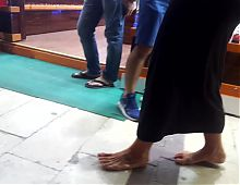 my friends Mature mom walking barefoot, public after pub