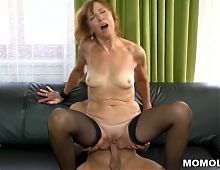Lotty Blue riding a young dick