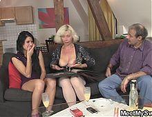Old couple seduce sons GF into threesome