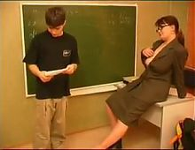Mature teacher and boy