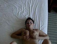 Hairy asian Mischel, exhib her massive boobs, long lips-P2
