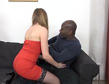 Husband fingers wife pussy after black guy anal fucked her