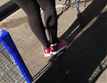 Slut german Woman in Shiny black opaque tights