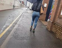 Big black bubble booty in jeans walking