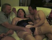 Trio with mature bbw